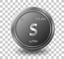 Sulfer Chemical symbol with atomic number and atomic mass vector
