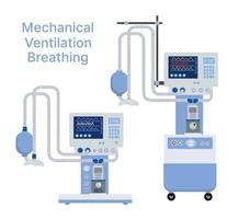 Medical mechanical ventilation machine for equipment device vector