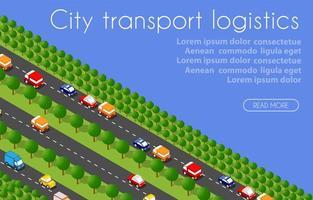 Transport Logistics 3D Isometric City illustrated vector
