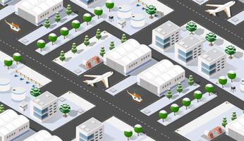 Seamless pattern Isometric 3D city airport with transport vector