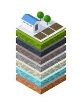Soil layers geological and underground beneath nature landscape vector