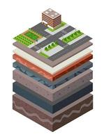 Soil Layers cross section geological of urban environment vector