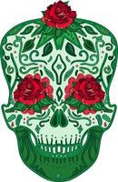 Mexican skull with roses symbol day of dead vector