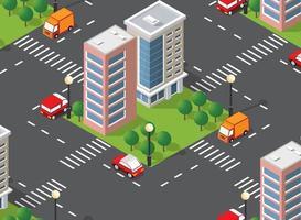 Seamless urban plan pattern map. Isometric landscape vector