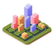 3D illustration isometric city landscape of skyscrapers vector