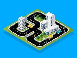 Isometric 3D illustration Track racing with cars vector
