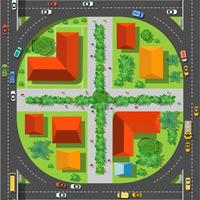 The top view is a map of the city district vector