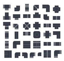 A set of city intersections Top View from above of street modules vector