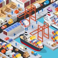 Isometric port cargo ship cargo seaport at sea vector