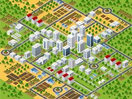 Urban plan pattern map. Isometric landscape structure vector