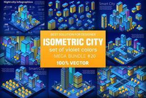 Night neon isometric city set of 3d module block district vector