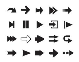 Arrows icons set of silhouettes vector