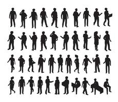 Isometric 3d illustration set Silhouettes of people vector