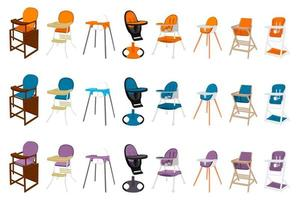 Illustration on theme colorful modern child high chair vector