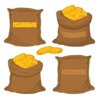 big colored set different types bags, full sack of coins vector