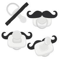 big colored set baby pacifiers, dummy with rubber nipple vector