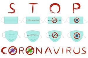 Diferentes de máscaras respiratorias para la prevención del coronavirus. vector