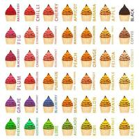 Big colorful set different types natural ice cream vector