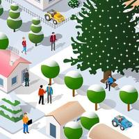 Isometric Street Christmas new year 3D illustration vector