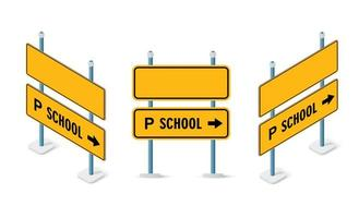 Road signs isometric set street object vector