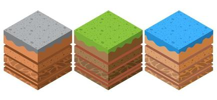 Soil layers geological set and underground beneath nature vector