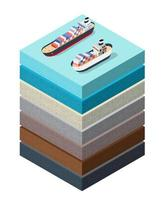 Soil Layers sea surface ship cross section geological and underground vector