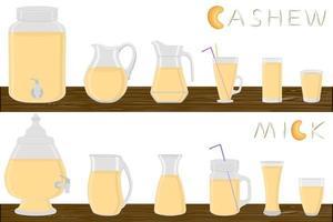 Illustration on theme big kit different types glassware vector
