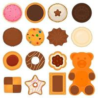 big set different biscuit, kit colorful pastry cookie vector