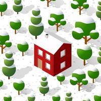 Isometric 3D winter Christmas illustration of the city quarter vector