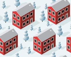 Christmas city isometric urban winter quarter in the snow vector