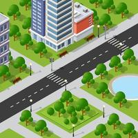 Isometric 3D illustration of the city quarter with houses vector