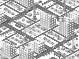 Seamless urban plan illustration of isometric construction building vector