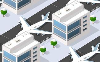 Seamless pattern Isometric 3D city airport with transport aircraft vector