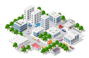 Isometric view of the city. Collection of houses 3D vector