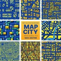 Background city map set pattern repeating vector