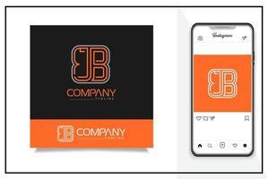 J B letter logo free vector