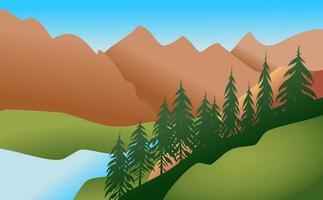 Mountainous River Valley Landscape vector