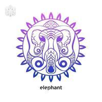 Elephant with mandala concept design free vector