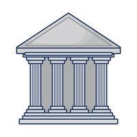 bank building facade isolated icon vector