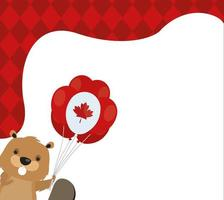 Canadian beaver with balloon of happy canada day vector design