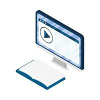 desktop electronic device with elearning books vector