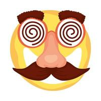 crazy emoji face with mustache and glasses mask fools day vector