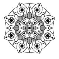 decorative floral monochrome mandala ethnicity artistic icon vector