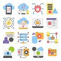 Pack of Cloud Data Transfer Flat Icons vector
