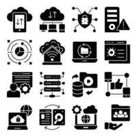 Pack of Cloud Data Transfer Glyph Icons vector