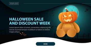 Halloween sale, and discount week, modern horizontal web banner with night landscape on background vector