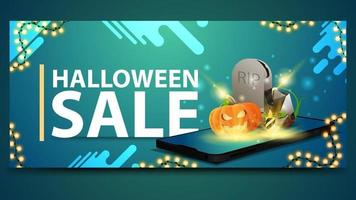 Halloween sale, modern blue banner for web site with the smartphone from which it is projected tombstone and pumpkin Jack vector