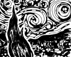 Woodcut Starry Night Sketch Silhouette vector