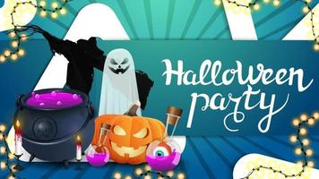 Halloween party, green invitation flyer with large triangle, garland, ghost, Jack pumpkin, witch's cauldron with potion and Scarecrow vector