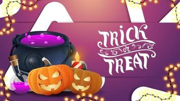 Trick or treat, pink modern volumetric horizontal greeting postcard with large triangle, garland, pumpkin Jack and witch's potion vector